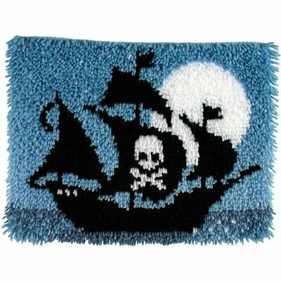 "Pirate Ship Latch Hook Kit 15x20"" By Caron Wonderart. No Tool Included."