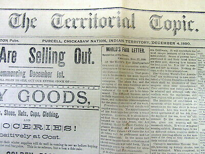 Rare 1890 Oklahoma Indian Territory newspaper SITTING BULL Battle o Wounded Knee