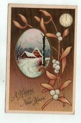 1910 embossed New Years Post Card Mistletoe Brown Leaves Clock Face Cottage