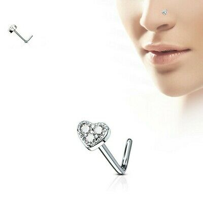 Surgical Steel L Shaped Pre Bent Nose Stud With Clear Crystal Set Heart