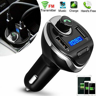 Wireless In-Car Bluetooth FM Transmitter MP3 Radio Adapter Car Fast USB Charger