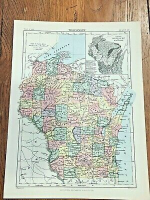 circa 1880s map of wisconsin  ( adam & charles black )