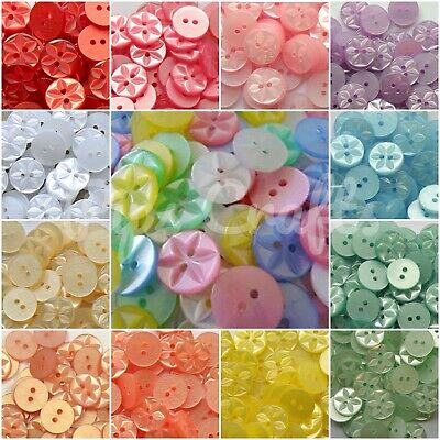 Round Star Buttons - Size 18, 22, 26 Many Colours Sewing Crafts 20 or 100