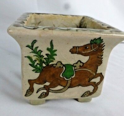 Nice vintage Persian pottery vase #1 (out of 2), ca. 1930s, hand painted