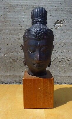 Exquisite Antique south asian bronze Buddha stand on a wood stand [Y8-W7-A9]