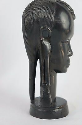 """Vintage heavy African Carved Ebony wood woman bust 7 1/2"""" tall"""