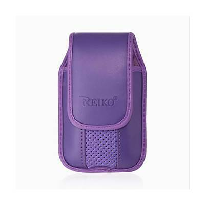 Purple Leather Case Vertical with pinch clip fits Alcatel Quick Flip phone