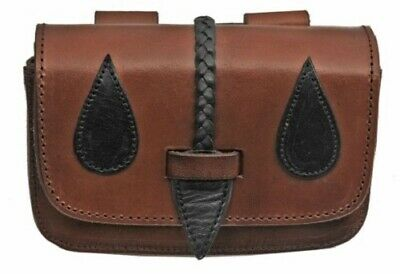 Medieval Braided Leather Belt Bag Pouch SCA LARP Renaissance Cosplay Mountainman