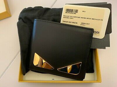 80eeabc390 FENDI BLACK LEATHER bi-fold wallet monster eyes 7M0169SQPF0KUR