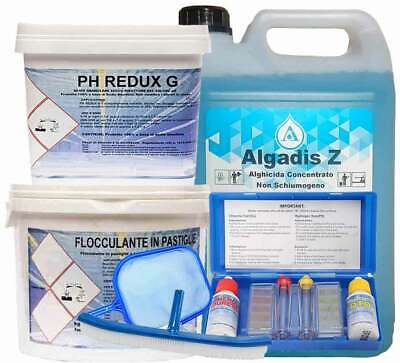 5 kg Antialghe + 5 kg Flocc + 5 kg Ph Redux g + Kit Test ph + retino + spazzola