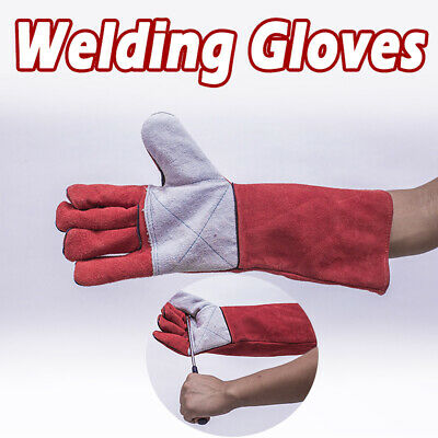 1 Pair Welding Gauntlets Protective Gloves Heat Resistant Leather Work Gloves