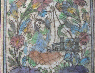 QAJAR PERSIAN FAIENCE TILE of Woman Working / Weaving 7.5x7.5 in ANTIQUE POTTERY
