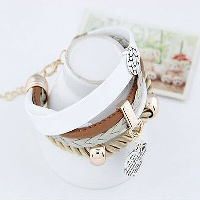 Cute Style Bracelet Jewelry Leather Infinity Charm Cuff Bangle Wrap Womens Gift