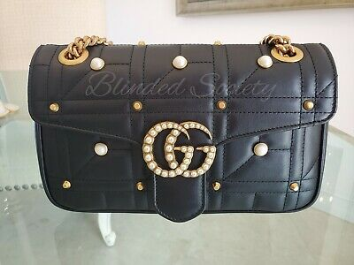 4df816ebee17 $2750 Gucci GG Marmont Matelasse Small Handbag Gold Studded Pearls Chain  Limited