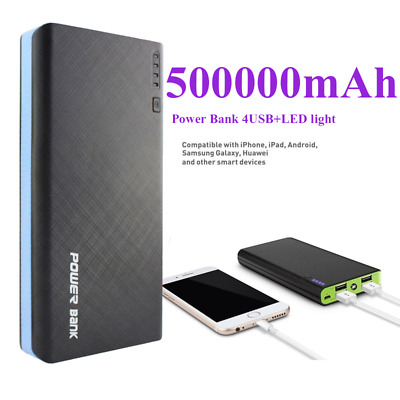 Portable Charger 500000mAh Power Bank 4USB LED 2.1A Fast Charging Spare Battery