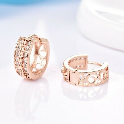 Brilliant Women Wedding Party White Sapphire Crystal Yellow Gold Hoop Earrings