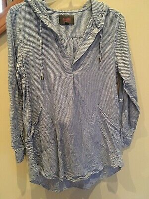 2b8d4c2160379 Forcynthia Beach wear Linen Blue White Adjustable Sleeve Pullover Cover Up  Small