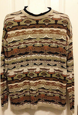 Bachrach Crew Neck Pullover Sweater Knit Stripes Brown Multi Italy Men's Sz XL