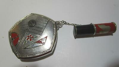 Art Deco EVANS ladies compact with lipstick holder on chain Very cool