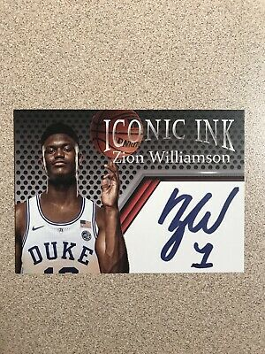 Zion Williamson Iconic Ink Trading Card Duke New Orleans # 1 Pick Free Shipping