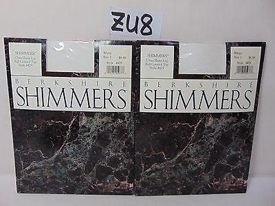 90bfb1c98 Lot Of 2 Vintage Berkshire Pantyhose Hosiery Shimmers White Sz. 1 Ultra  Sheer