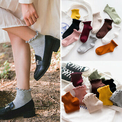 Women Solid Cotton Short Socks Vintage Ruffle Frilly Soft Breathable Ankle Socks