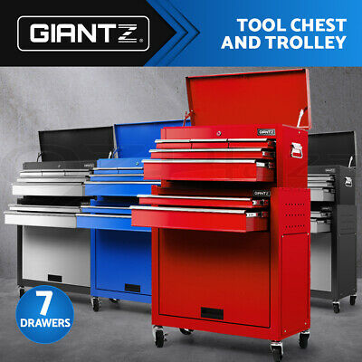 Giantz Tool Box Chest Cabinet Trolley Cart Garage Machanic Toolbox 7 Drawers Set