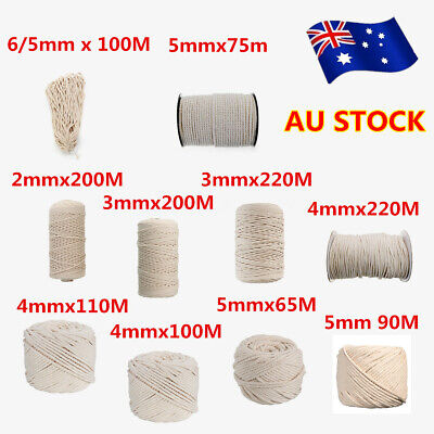 2/3/4/5/6mm Macrame Rope Natural Beige Cotton Twisted Cord Artisans HandCraft AU