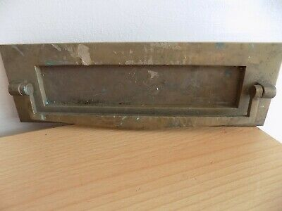Letterbox with Knocker Vintage Cast Brass10 X 3ins Opening 1 1/2 ins x 1 3/4 ins