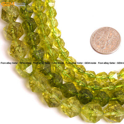 """Dyed Faceted Peridot Gemstone Crystal Quartz Beads For Cambay Jewery Making 15"""""""