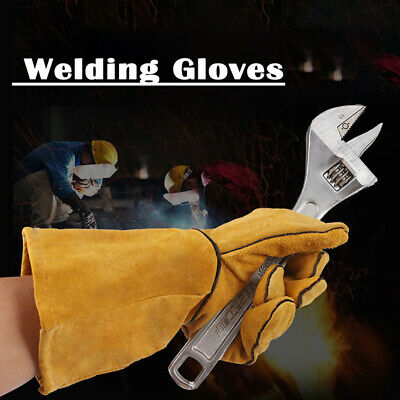 Superior Mig Welding Gauntlets Protective Gloves Heat Resistant Leather Yellow