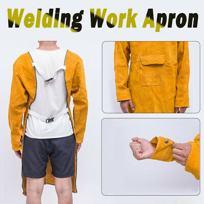 Welding Apron Welder Protection Workwear Safe Cowhide Leather Apron with Sleeves