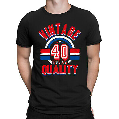 Mens 40th Birthday T-Shirt VINTAGE QUALITY 40 Today Funny Present Gift Top
