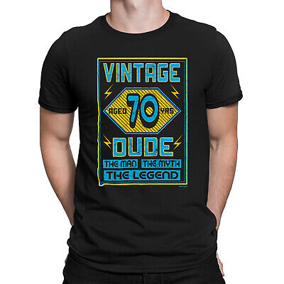 Mens 70th Birthday T-Shirt VINTAGE DUDE Aged 70 Years Funny Present Gift Top