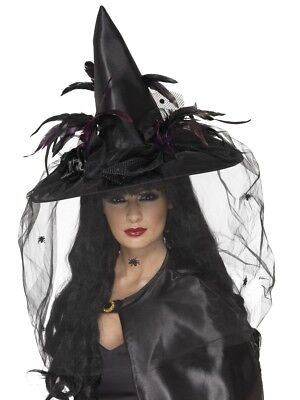 Witches Hat Ladies Deluxe Halloween Witch Fancy Dress Hat Accessory