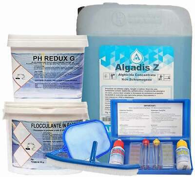 10 kg Antialghe + 5 Kg Flocc + 5 kg Ph Redux g + Kit test ph + Retino + Spazzola