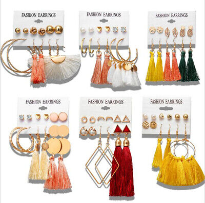 6Pairs Bohemian Fringe Tassel Crystal Pearl Earrings Women Stud Dangle Jewelry