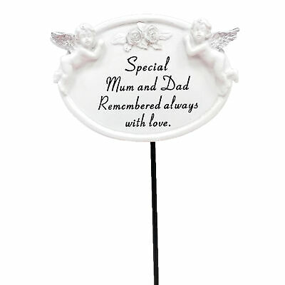 David Fischhoff Special Mum and Dad Graveside Oval Memorial Plaque on a Stick