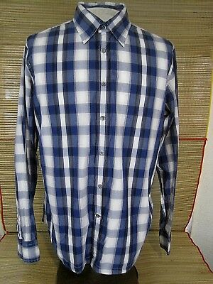 efa10f5dfe51 GUESS JEANS Men dress shirt PLAID long sleeve pit to pit 24 slim fit cotton  XL