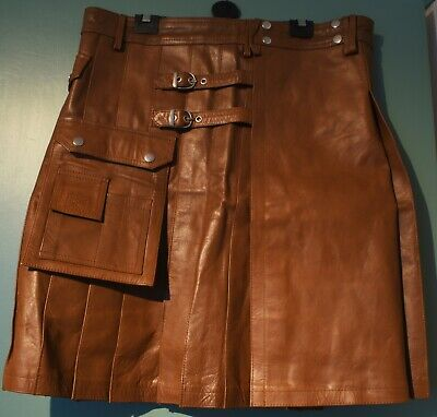 Excellent Quality Genuine Brown Cow Leather Quality Mans Pleated Kilt Wraparound