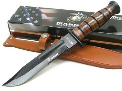 Mtech MT-122MR Brown Leather Serrated Fixed Blade Marine Knife + Leather Sheath