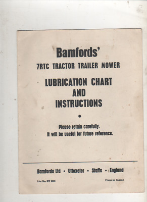 100% Quality Bamford 7rtc Tractor Trailer Mower Lubrication Chart & Instructions Original Other Tractor Publications Business, Office & Industrial