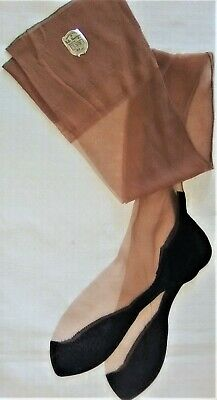 30fb086a7 Vtg Belle Sharmeer Cuban Heel Black Foot Seamed Ff Flat Nylon Stockings  9.5 32
