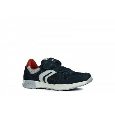 GEOX ALFIER Kids Girls Boys Dual Lace Up Touch Fasten Casual Trainers Navy Red