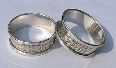 Pair Of Sterling Silver Circular Napkin Serviette Rings By Henry Griffin