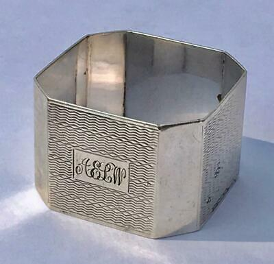 Solid Sterling Silver Square Napkin Serviette Ring By Harman Brothers 1949