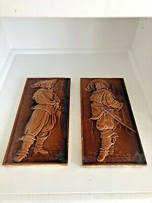Antique Minton's England Renaissance Medieval Soldier Glazed Wall Art Tiles