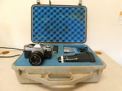Canon AE-1 35mm SLR Film Camera Bundle with Case 3 Lenses and Flash