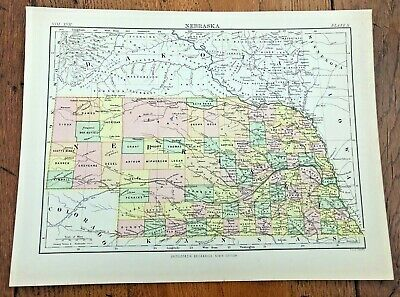 circa 1880s map of nebraska !  ( adam & charles black )