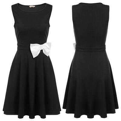 Women O-Neck Sleeveless Solid Cocktail Party Bow Pleated Skater Dress EH7E